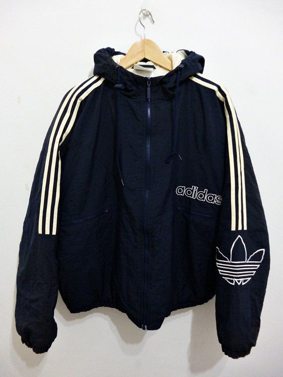 7d1e0acd8cb Vintage 80s ADIDAS Hip Hop Run Dmc Style hoodies oversized puffer track  bomber jacket