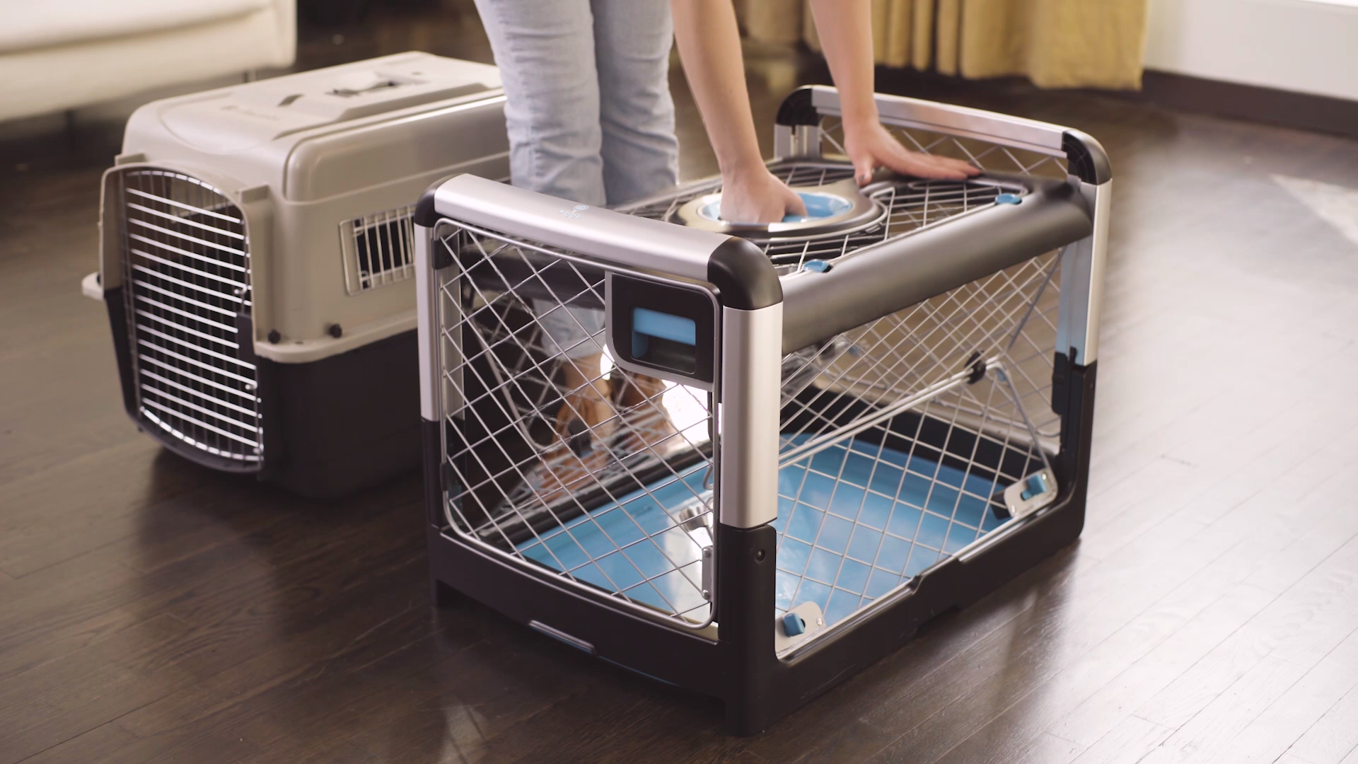 Say Goodbye To Pinched Fingers And Hello To The Most Convenient Comfortable And Stunningly Beautiful Pet Video Dog Crate Collapsible Dog Crate Dog Crate Furniture