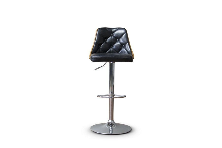 Baxton Studio Wellington Adjustable Height Swivel Bar Stool with Cushion