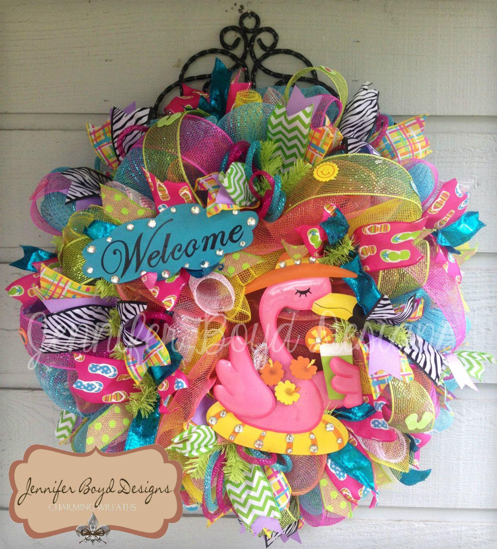 c5c7e309dc57c Flamingo Flip Flop Welcome Deco Mesh Wreath by Jennifer Boyd Designs.   115.00