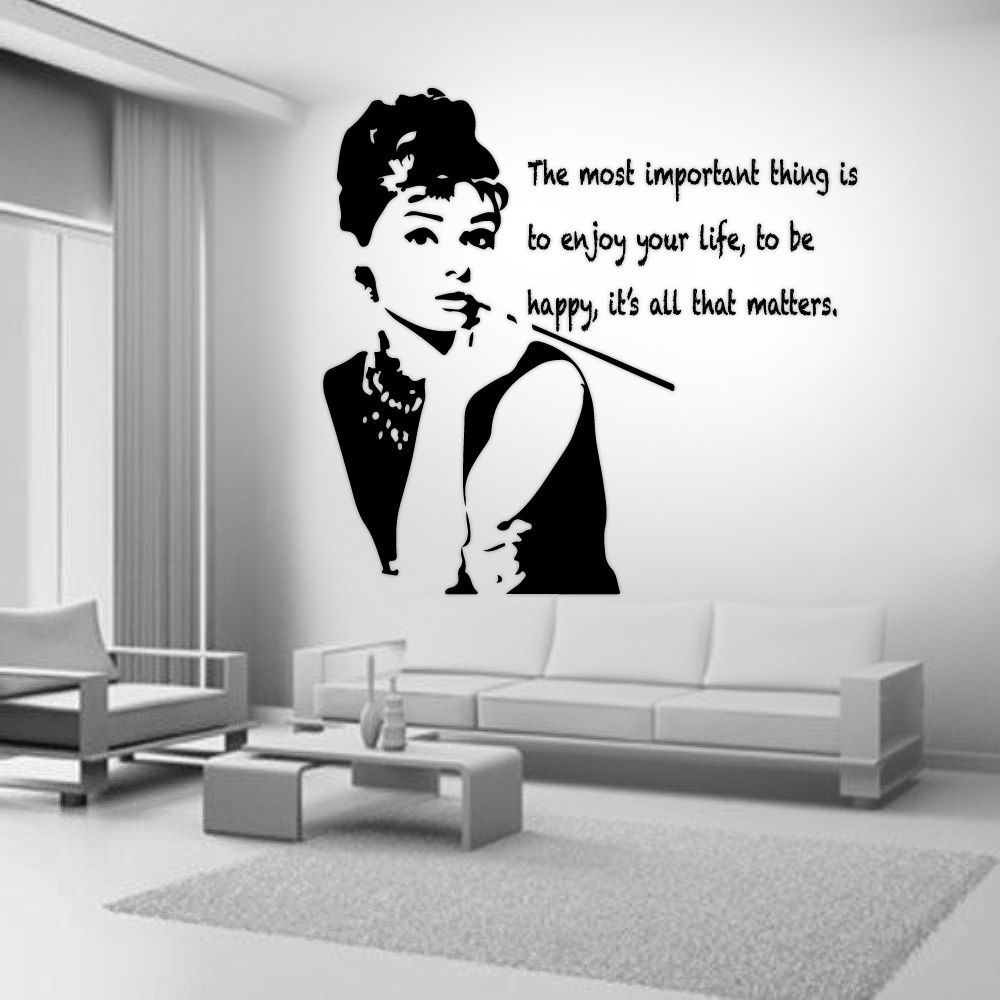 Details about audrey hepburn quote celebrity vinyl wall stickers audrey hepburn quote celebrity vinyl wall stickers art room removable decals diy ebay amipublicfo Image collections