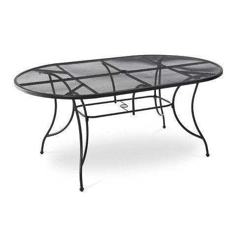 hamlake wrought iron rectangular patio dining table wrought iron patios and decking. Black Bedroom Furniture Sets. Home Design Ideas