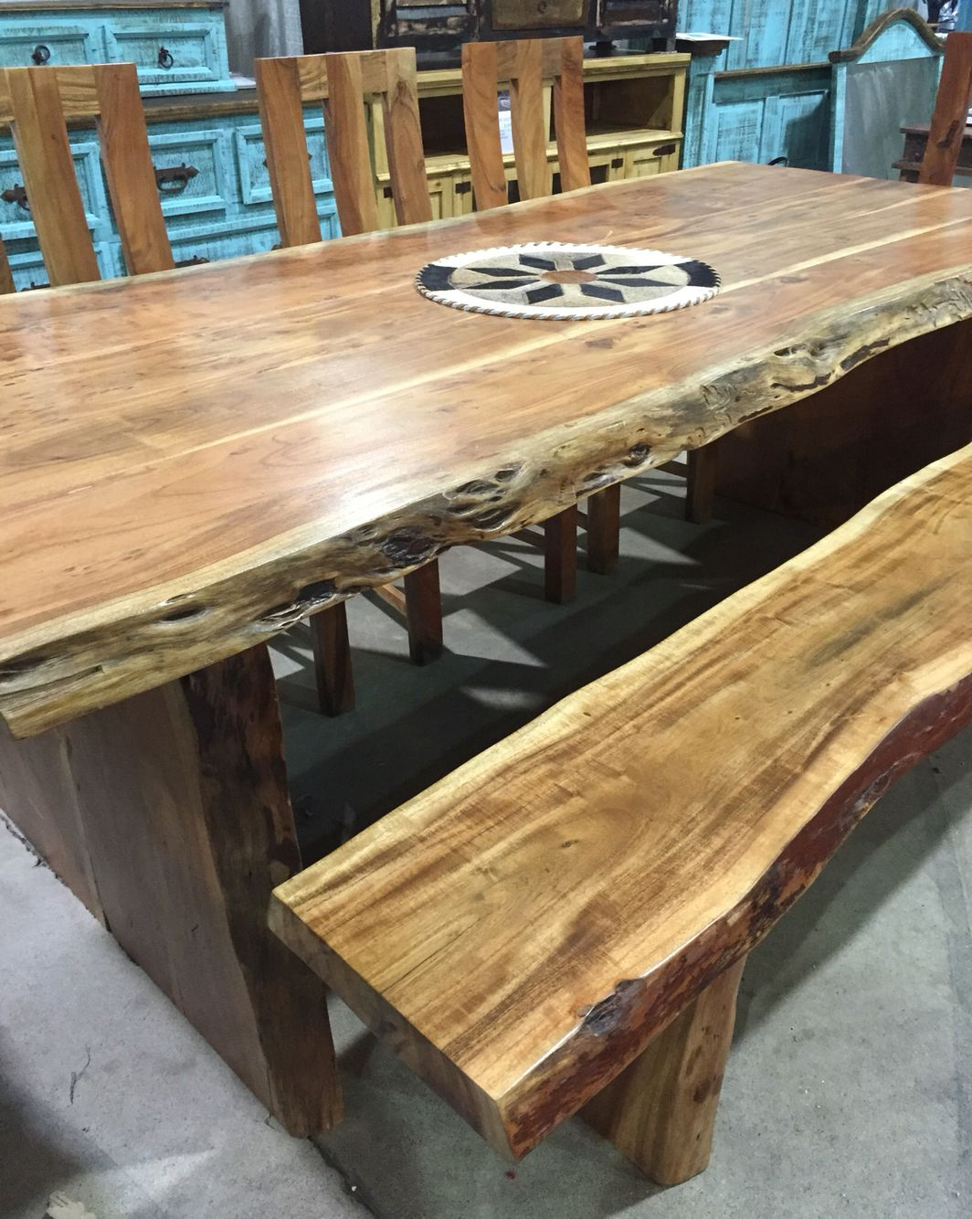 Live Edge Dining Table Bench Amp Chairs In 2019 Dining
