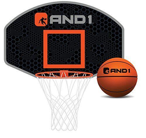 AND1 Mini Basketball Set Over The Door Hoop With 4u201d Ball Black. INDOOR SET