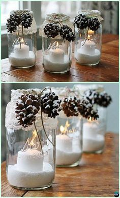 DIY Snowy Pinecone Candle Mason Jar Lights Instruction -DIY  #Christmas Mason Jar Lighting #Craft Ideas