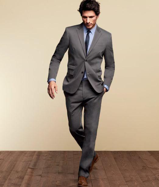 Gray suit, powder blue...