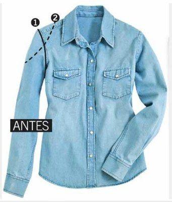 e5bfeb3799 Como fazer mangas vazadas na sua camisa jeans