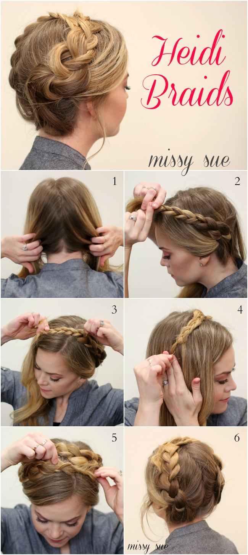 Easy heidi braids pinterest easy hair style and makeup