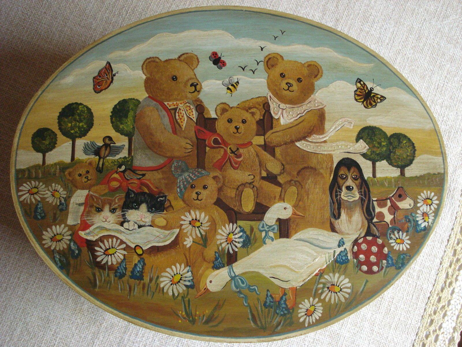 Phantastisch bemalte Spanschachtel ca. 31x24x14 cm, Bärenmotiv, top erhalten | eBay