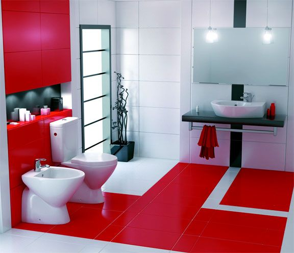 beautiful use of colour blocking in this red white and black bathroom - Bathroom Designs Black And Red