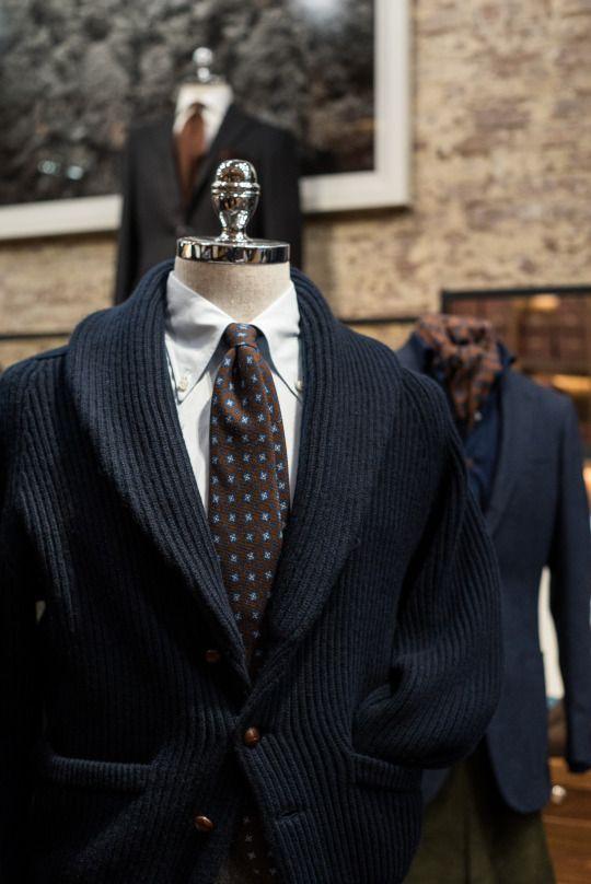 Drakes London cashmere shawl collar sweater