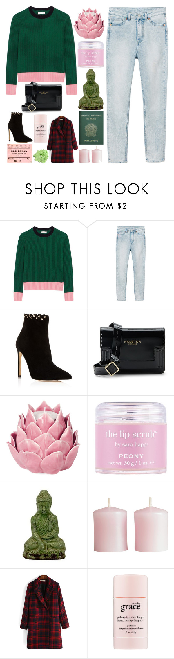"""Plaid coat"" by anam53046 ❤ liked on Polyvore featuring Chinti and Parker, Monki, Raye, Halston Heritage, Zara Home, Sara Happ, Urban Trends Collection, H&M, philosophy and Passport"