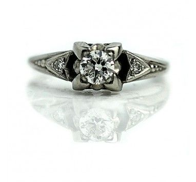 Antique .30 Carat Old European Cut Diamond Engagement Ring in Platinum
