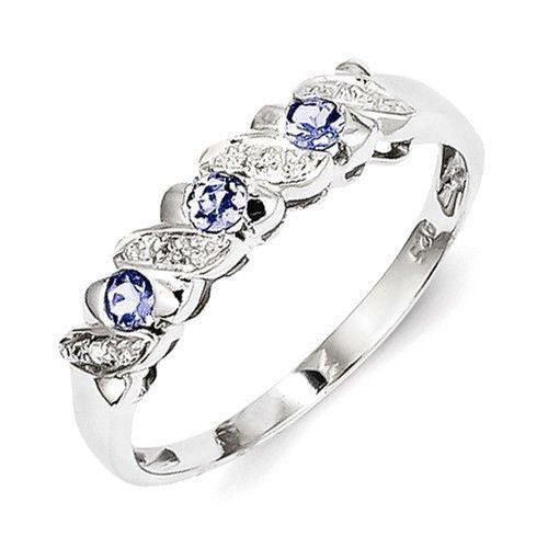 Sterling Silver 3 Stone Round Tanzanite Diamond Ring Color blue