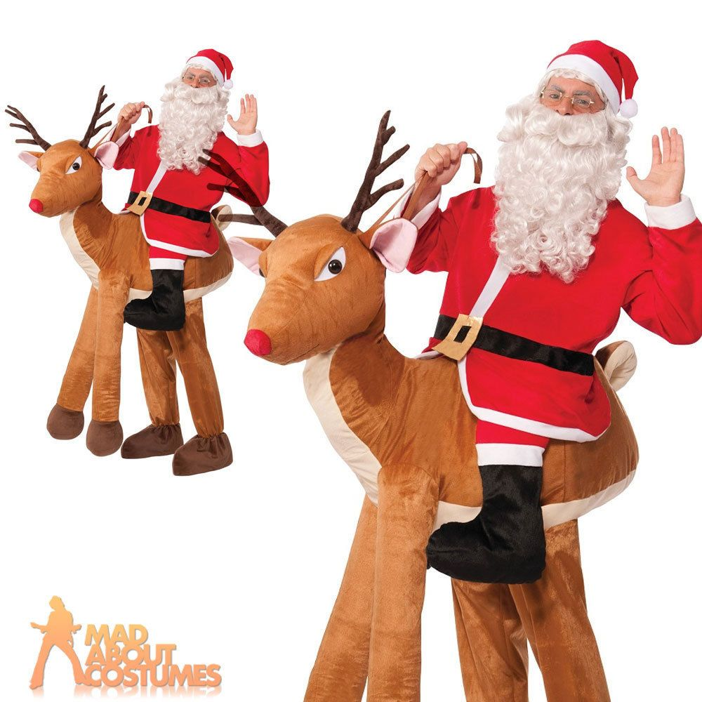 ADULT REINDEER COSTUME CHRISTMAS FANCY DRESS CHOOSE STYLE MASCOT OR ALL IN ONE