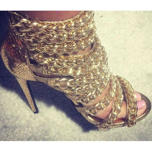 9b7903a715c Myshoebazar - Online Shoe Stores and Women's Trendy Shoes. Nelly Bernal  Trapstar Gold Chain Heels