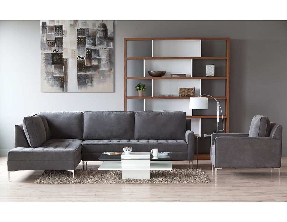 Structube - Living room : Sectional sofas : Miami (Charcoal ...