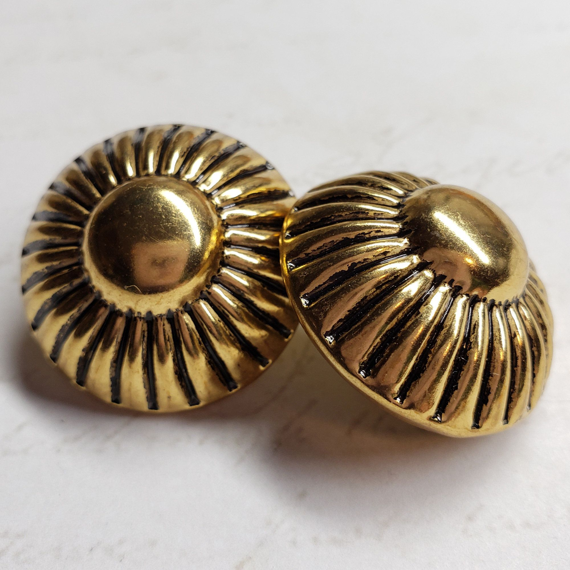 Beautiful vintage buttons shiny black with golden flower