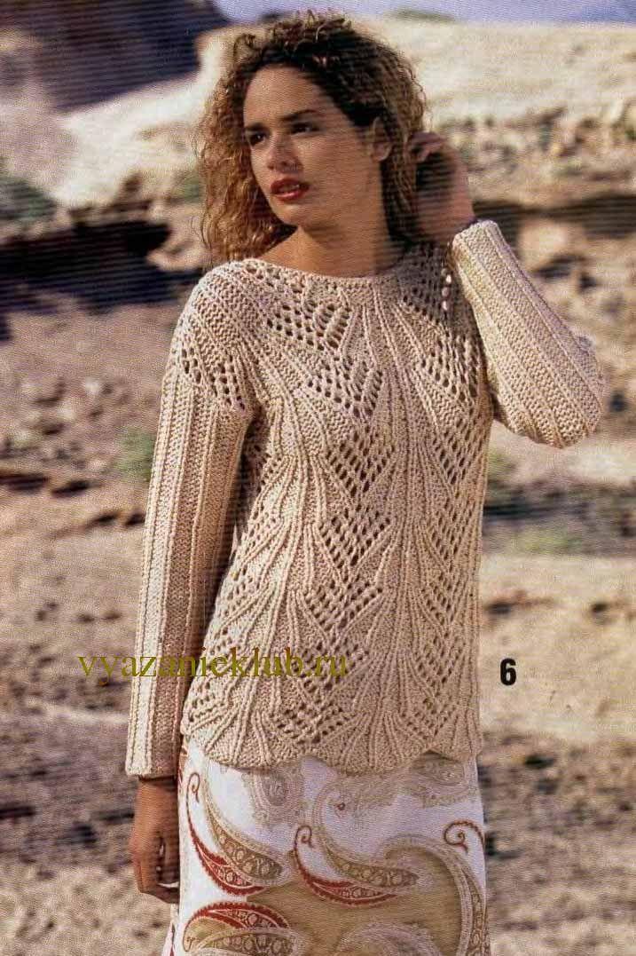Ажурный пуловер для женщин - Вязание спицами для женщин ...