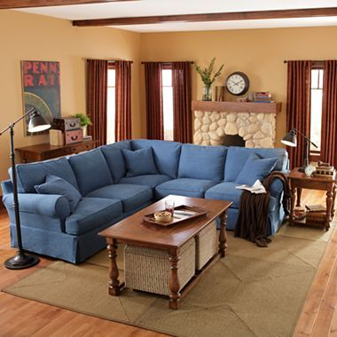 Friday Twill 3 Pc Slipcovered Sectional Jcpenney Living Room Furniture
