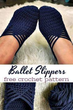Ballet Slippers Free Crochet Pattern #crochetpatterns