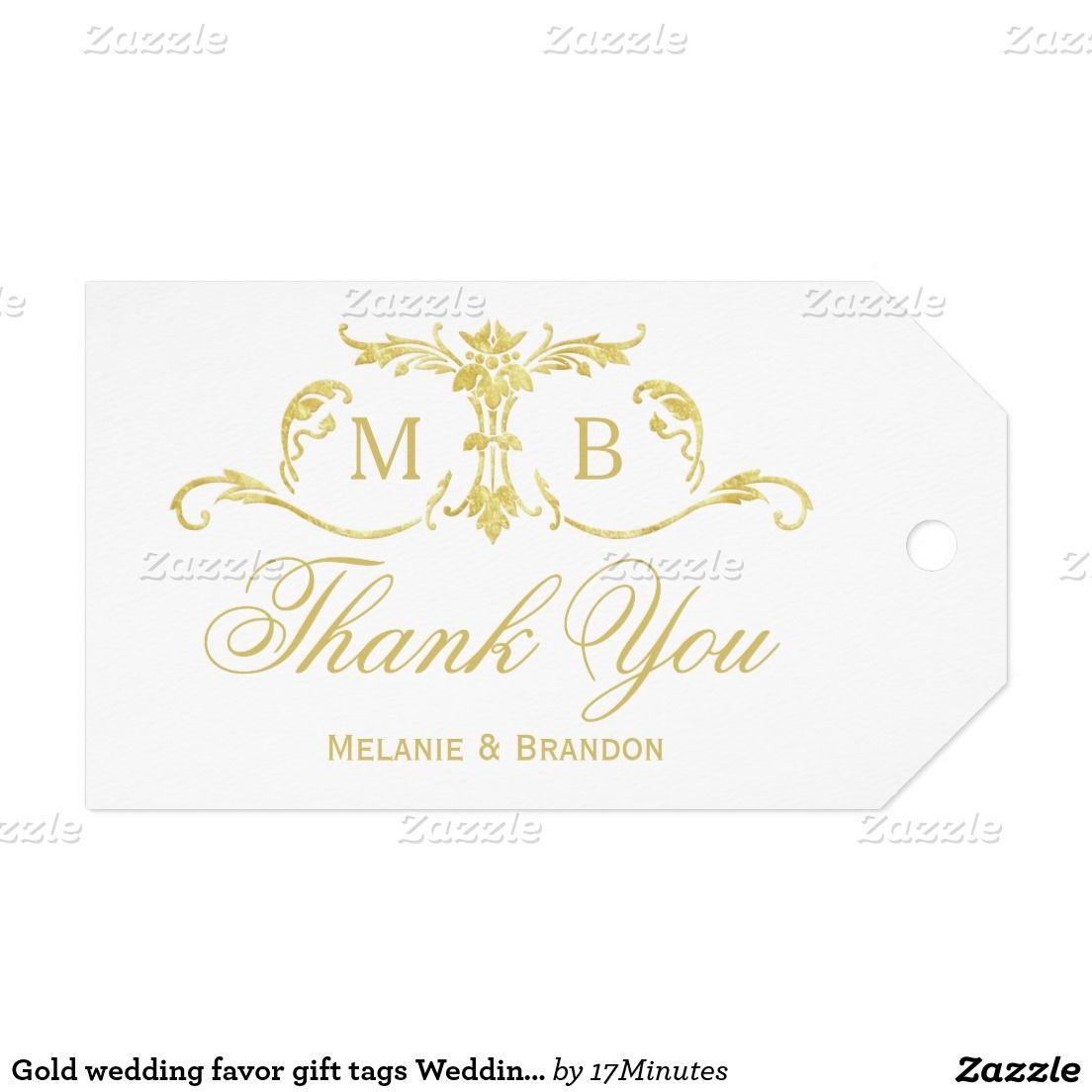 Gold wedding favor gift tags Wedding Thank You tag | Gold wedding ...