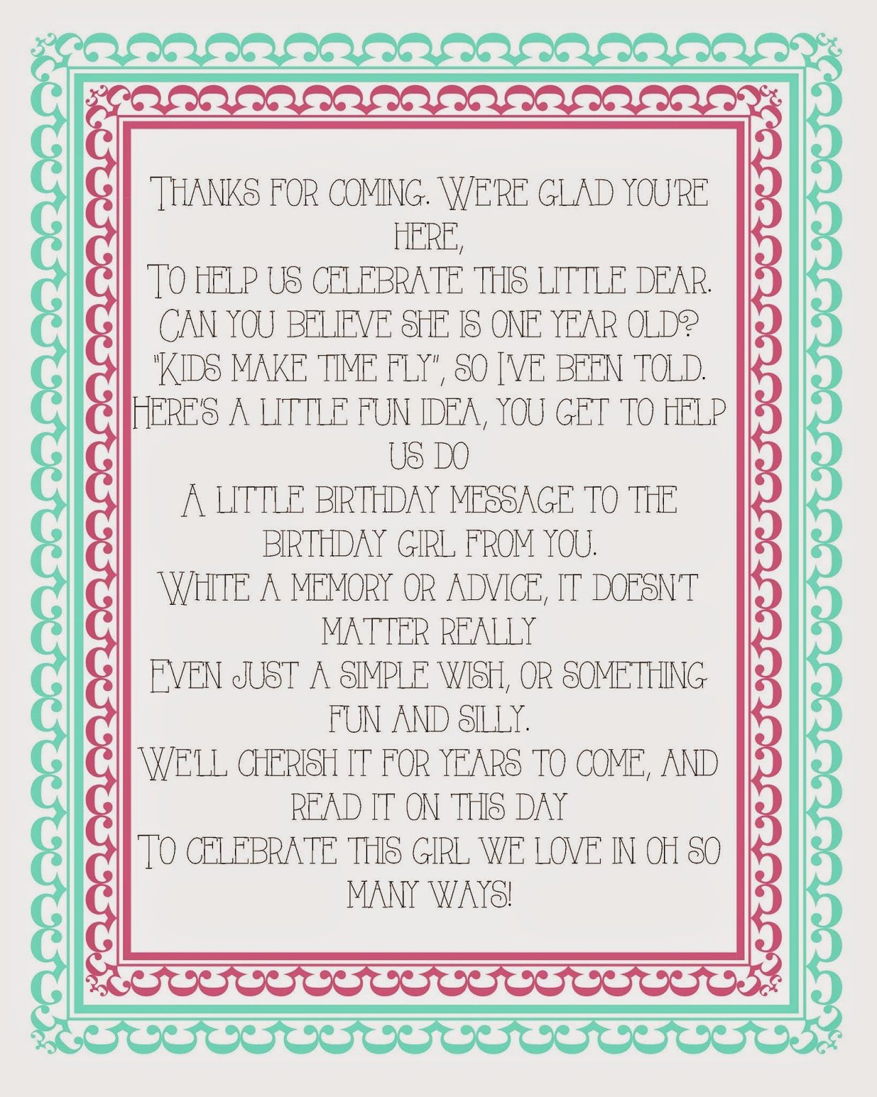 fun printable poem for a little girls first birthday guest book