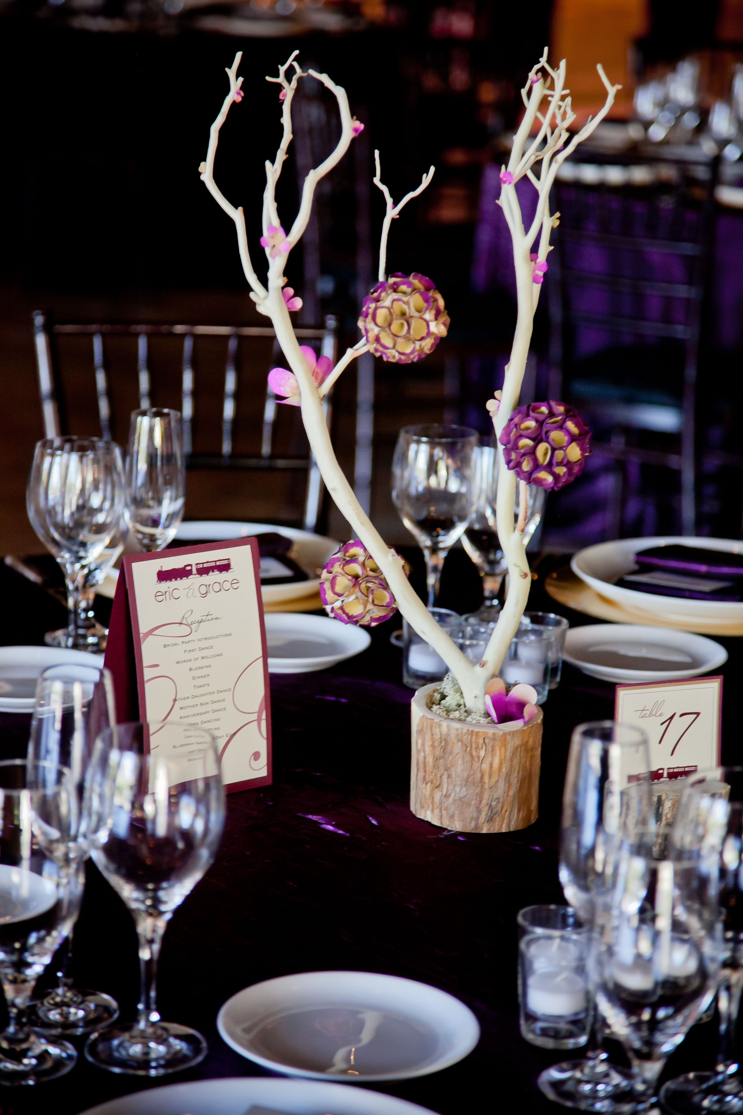 Manzanita Branch Centerpieces With Rice Paper Flowers And