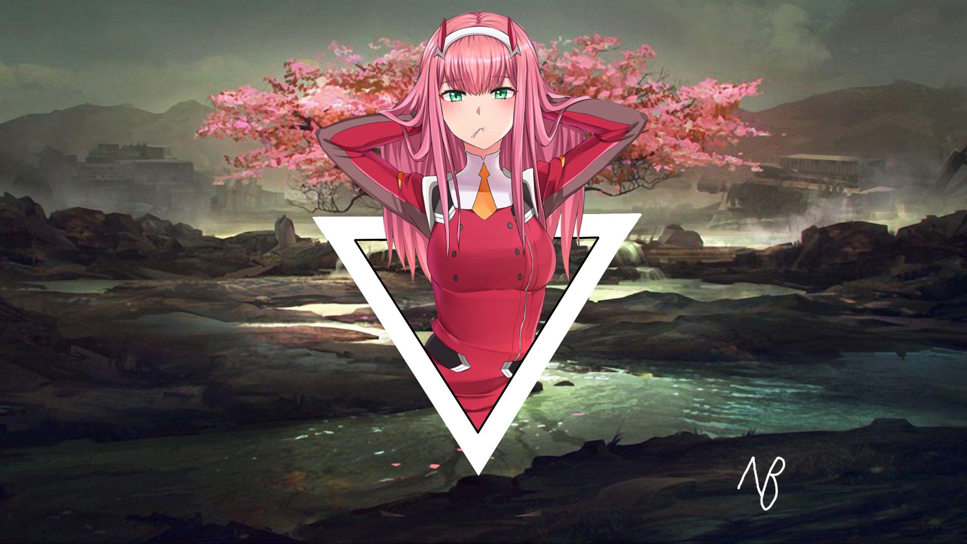 Just A Zero Two Wallpaper I Made 1920x1080 Need Trendy Iphone7 Iphone7plus Case Check O Anime Artwork Wallpaper Overwatch Drawings Background Hd Wallpaper