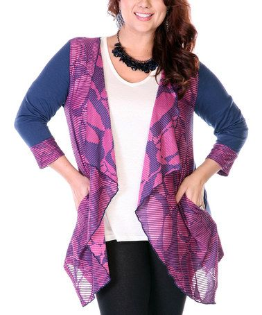 2d13e827cb Look what I found on  zulily! Navy   Pink Ruffle Trim Open Cardigan - Plus  by Aster  zulilyfinds