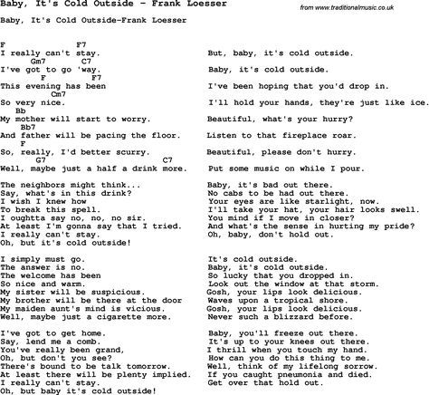 Song Baby Its Cold Outside By Frank Loesser With Lyrics For Vocal