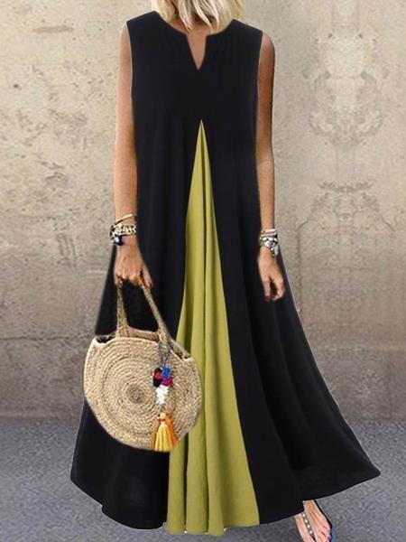 Ankle-Length V-Neck Sleeveless Pullover A-Line Dress