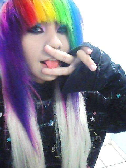 Pin by Emily Lawson on Rainbow hair | Emo hair color