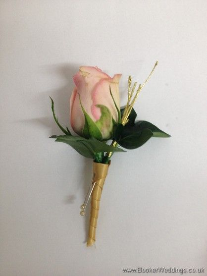 Pink & Gold Wedding Rose buttonhole with gold Twigs Wedding Flowers Liverpool, Merseyside, Bridal Florist, Booker Flowers and Gifts, Booker Weddings