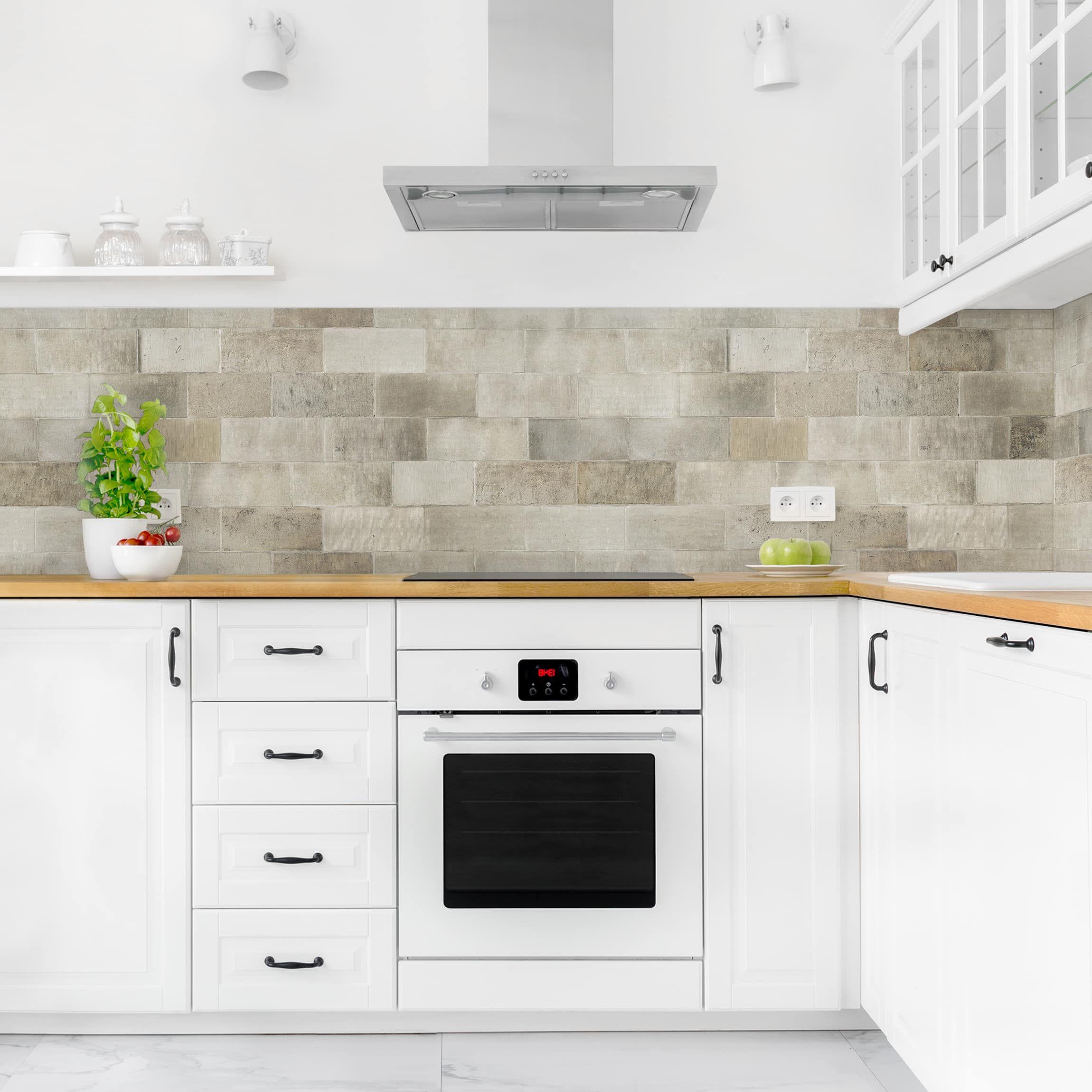 Rivestimento cucina - Muro in mattoni di cemento | Cucina ...