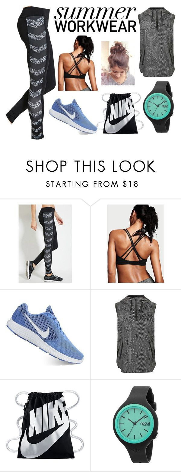 """Summer Workout Outfit"" by annie-nisnevich on Polyvore featuring NIKE, Topshop and Rip Curl"