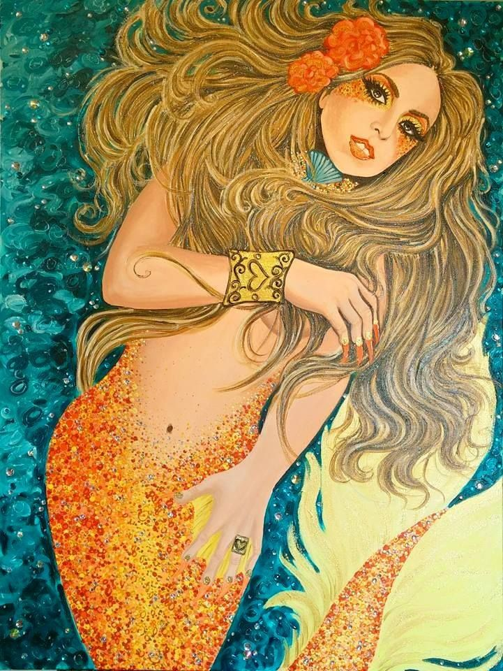 """New mermaid painting of Lady Gaga! I used acrylics mixed with glaze mediums on a HUGE 30"""" x 40"""" canvas. Embellished with crystals & 3d glitter paint"""