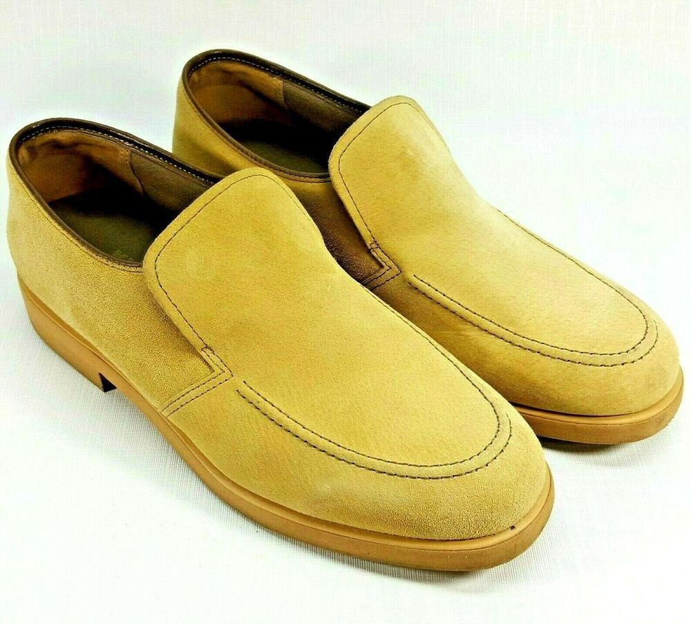 Details About Men S Hush Puppies Beige Slip On Casual Shoes Size 12 M Mens Hush Puppies Slip On Shoes Brown Suede Loafers