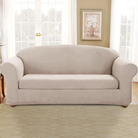 Surefit Sure Fit Stretch Suede Sofa Slipcover Oatmeal 1 Slipcovered Sofa Suede Sofa Sofa