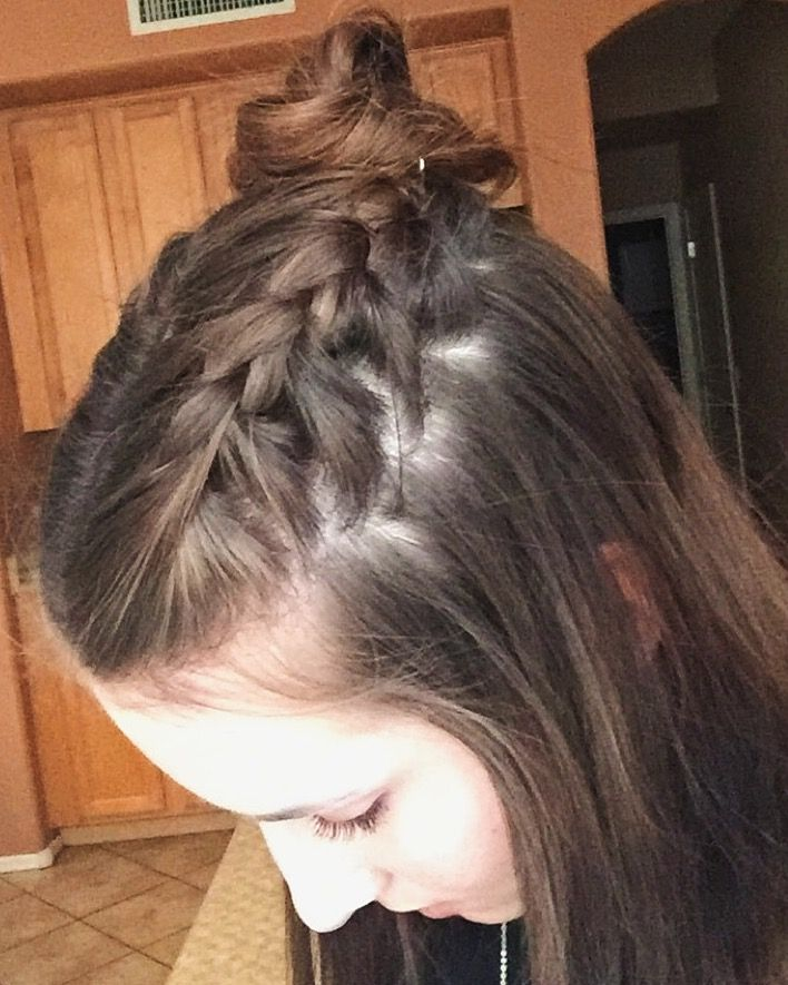 2 french braids into a half up top knot