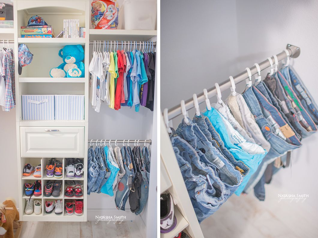 Brilliant! Shower curtain hooks to hang jeans in kids closet.   For ...