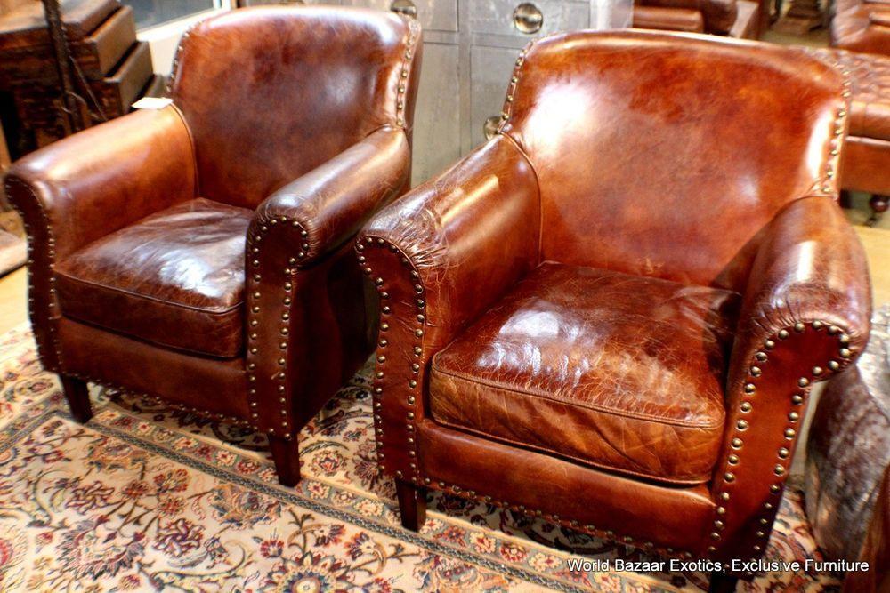 Awe Inspiring Set Of 2 Club Arm Chair Vintage Italian Brown Cigar Camellatalisay Diy Chair Ideas Camellatalisaycom