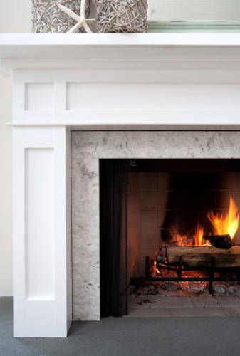 Cast Stone Fireplace With Built Ins