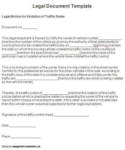 Legal Document Template Sample Legal Document Template  Sample