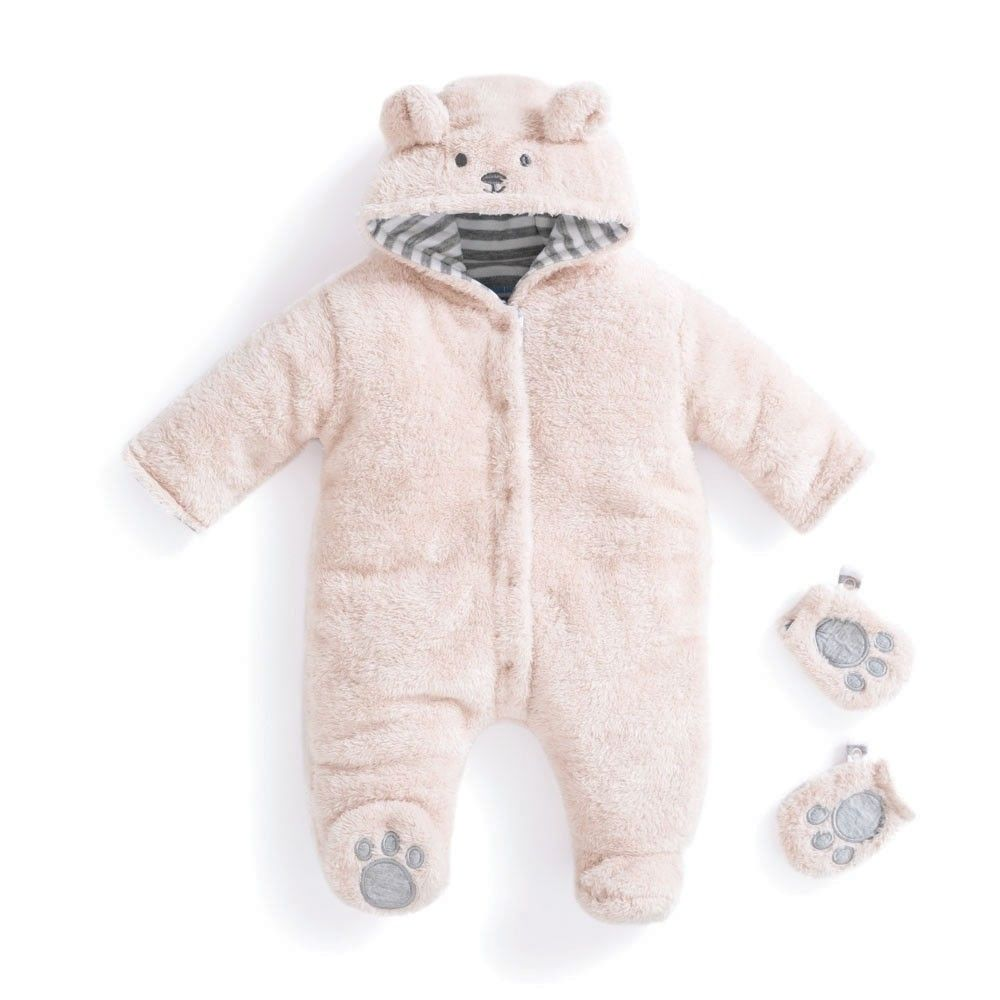 outlet on sale nice cheap 100% authentic Mocha Bear Fleece Baby Pramsuit | Newborn outfits, Neutral baby ...