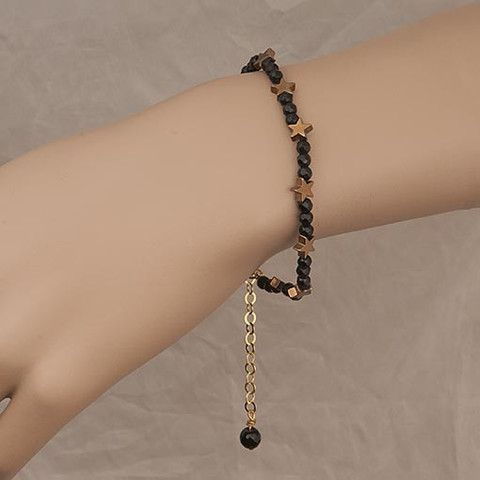 Handmade Black Crystal Bracelet With Gold Stars  At Anthoshop.com