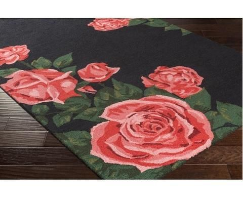 Romantic pink roses on black. Top pick for upscale teen girls bedroom.