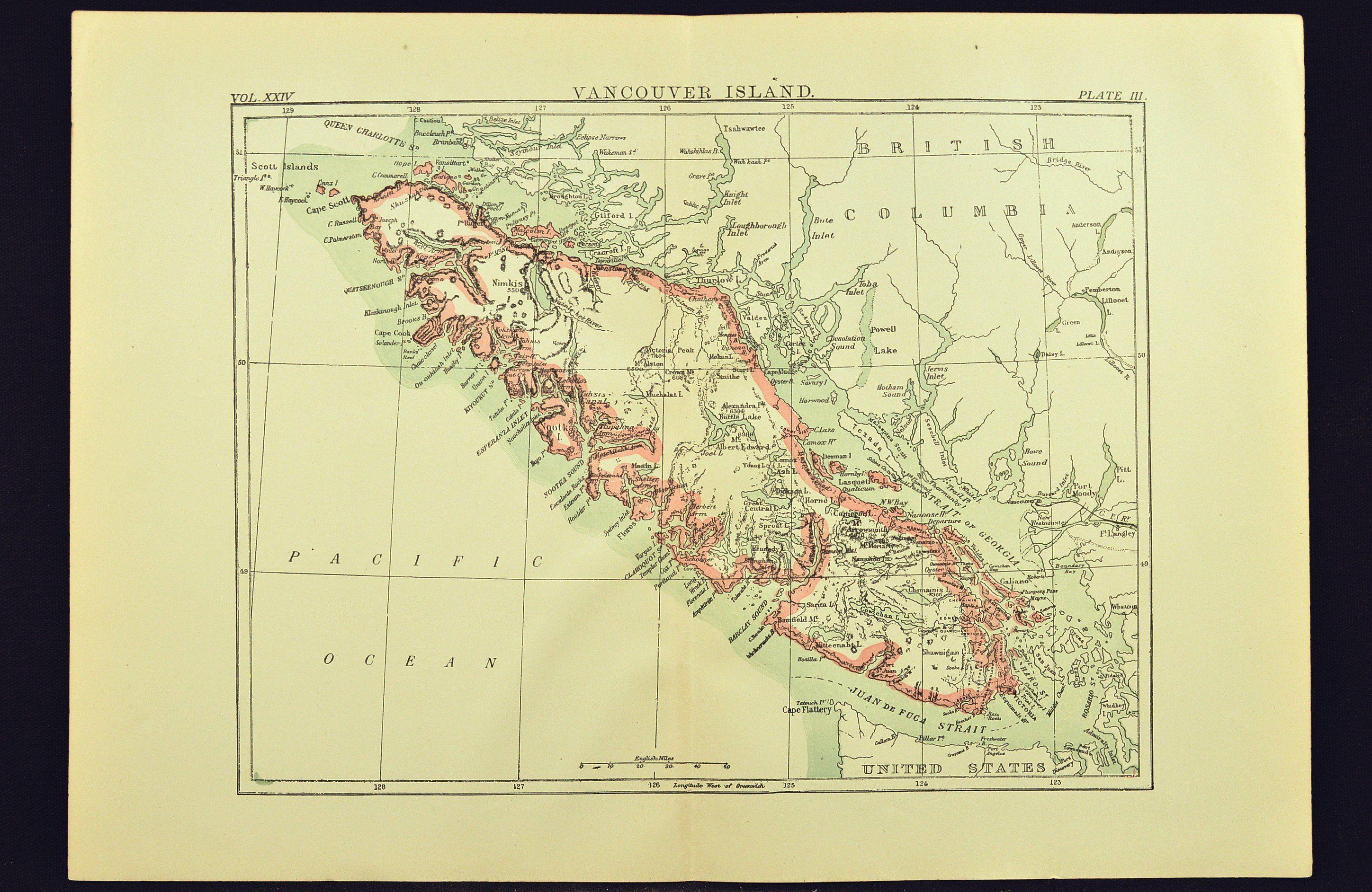 Nanaimo Canada Vintage Map Antique Vancouver Island Map of Vancouver Island British Columbia