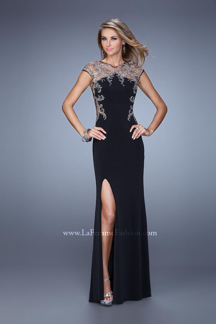 La Femme 21267 Jersey Gown with Iridescent Beads - French Novelty