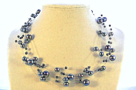 Iridescent Pearl Jewelry Necklace Bracelet by CreationsByJanetUSA
